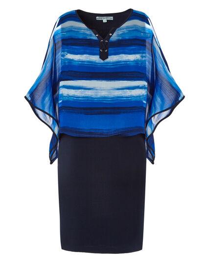 Cobalt Pop-Over Shift Dress, Cobalt, hi-res