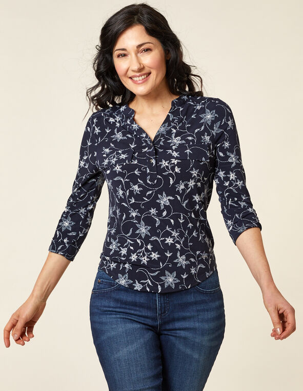 Navy Flower Print Utility Top, Navy, hi-res