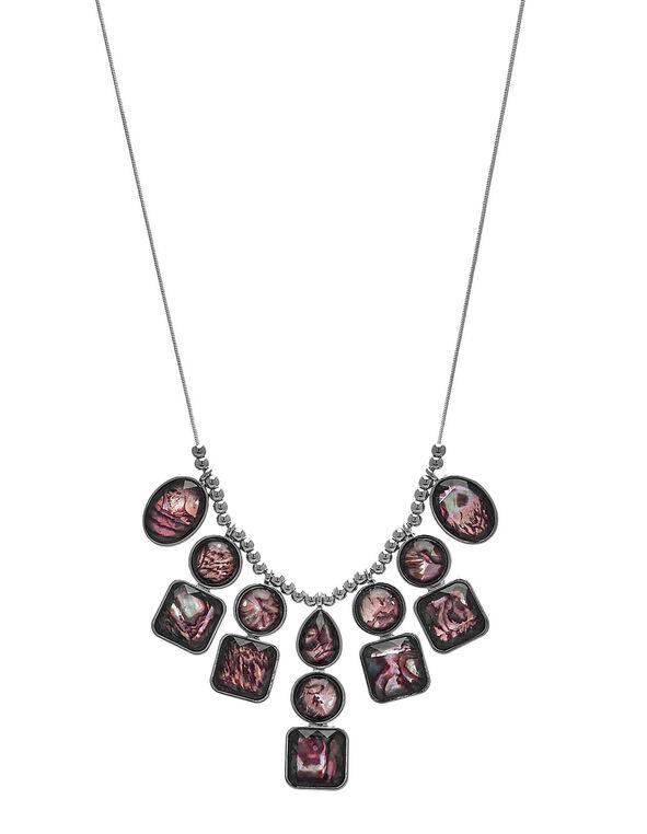 Short Purple Abalone Statement Necklace, Purple, hi-res