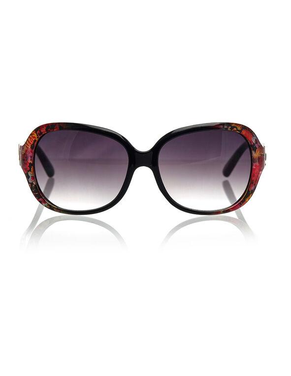 Floral Large Frame Sunglasses, Black/Pink, hi-res