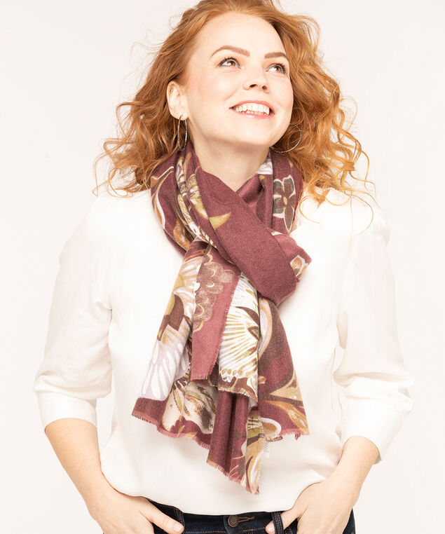 Mulberry Floral Oblong Scarf, Mulberry/Camel/Mauve, hi-res