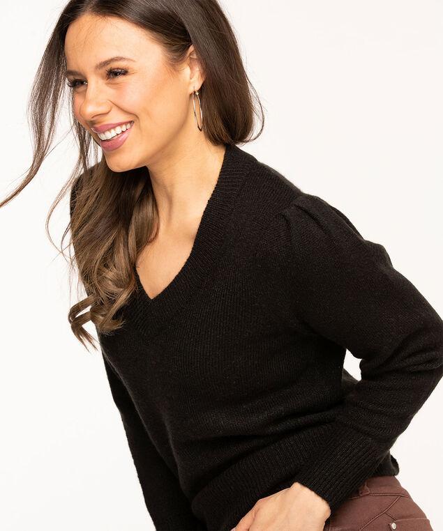 V-Neck Puff Shoulder Sweater, Black