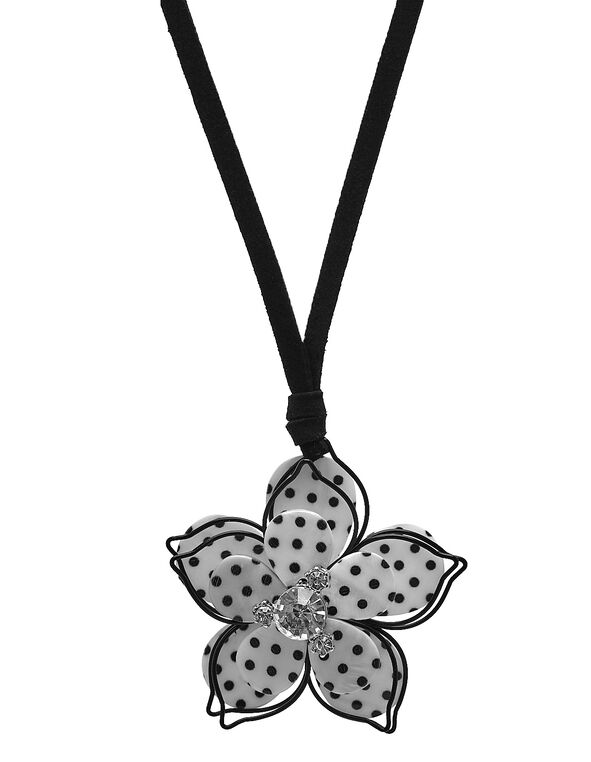 Black Polka Dot Floral Short Necklace, Black/White, hi-res