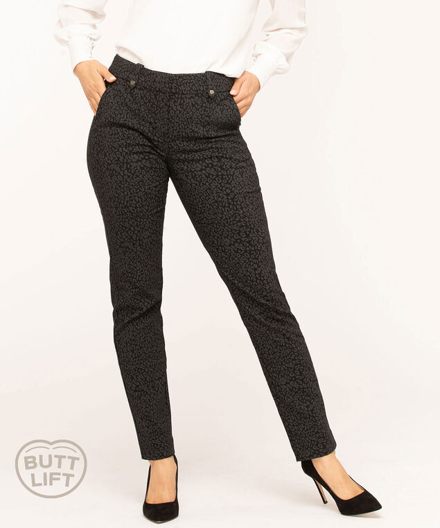 Animal Print Butt Lift Slim Pant, Grey/Black