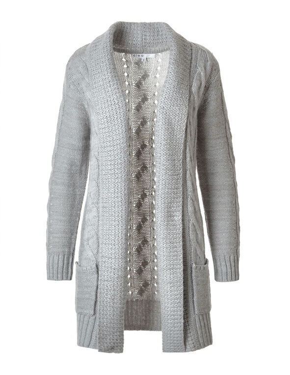 Grey Cable Knit Open Cardigan, Light Grey, hi-res