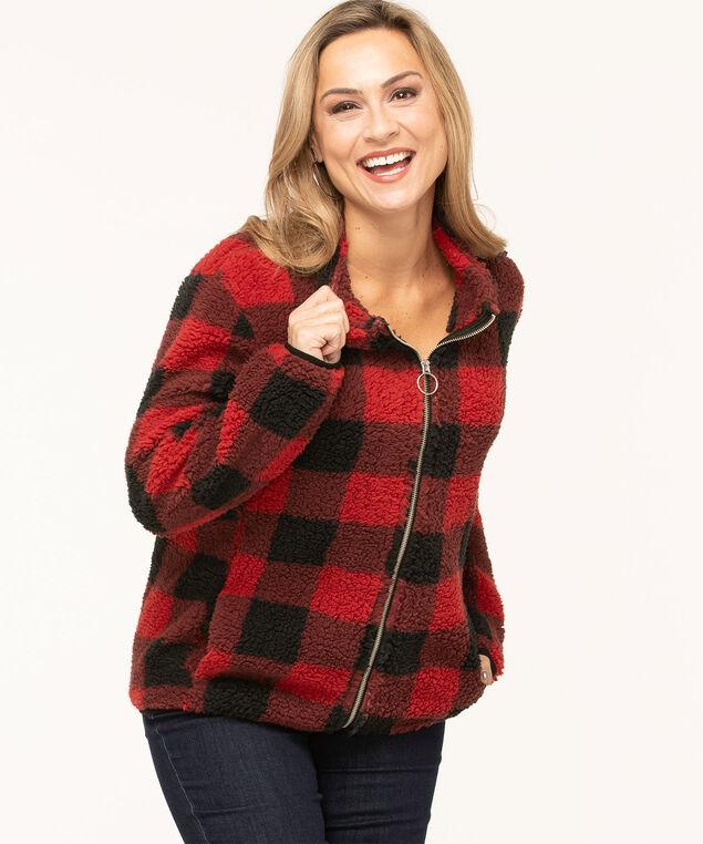 Cozy Sherpa Zip Front Jacket, Red/Black, hi-res