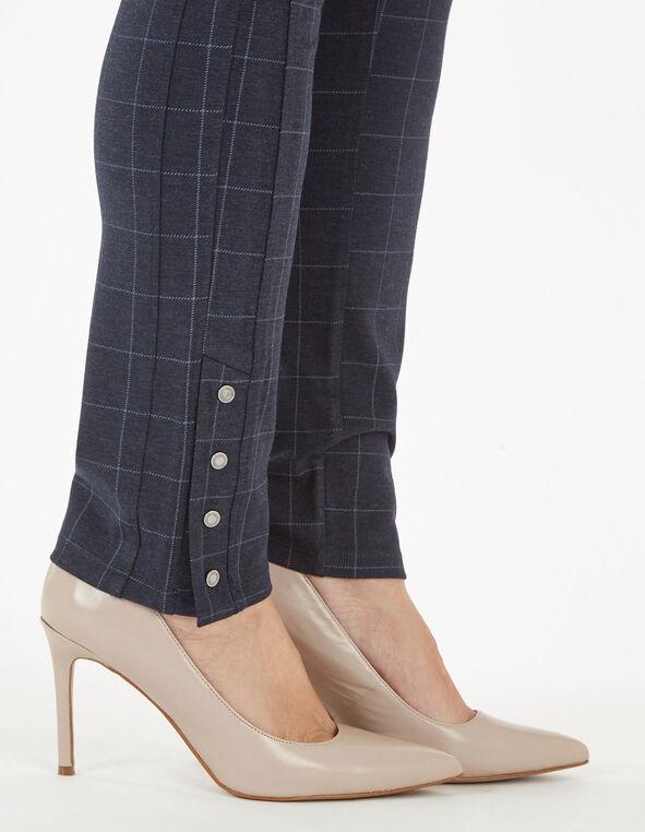 Blue Plaid Snap Bottom Legging, Navy, hi-res