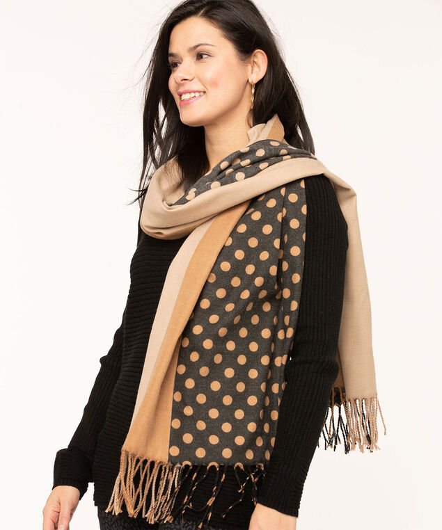 Mixed Stripes & Dots Blanket Scarf, Camel/Black, hi-res