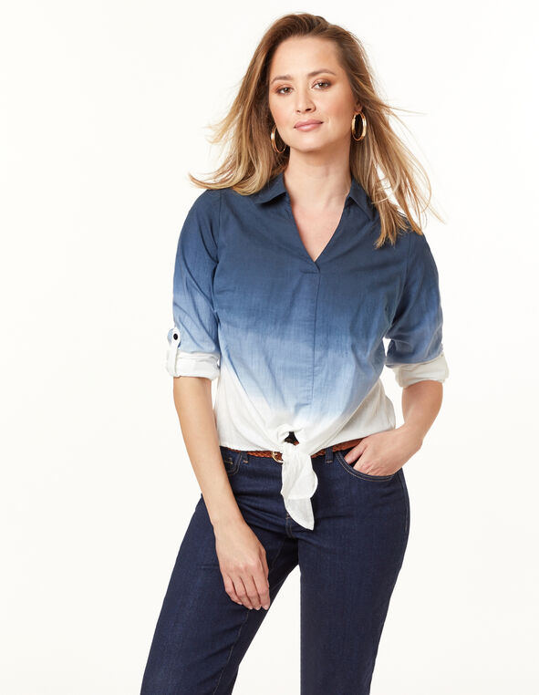 Navy Ombre Tie Front Blouse, Navy, hi-res