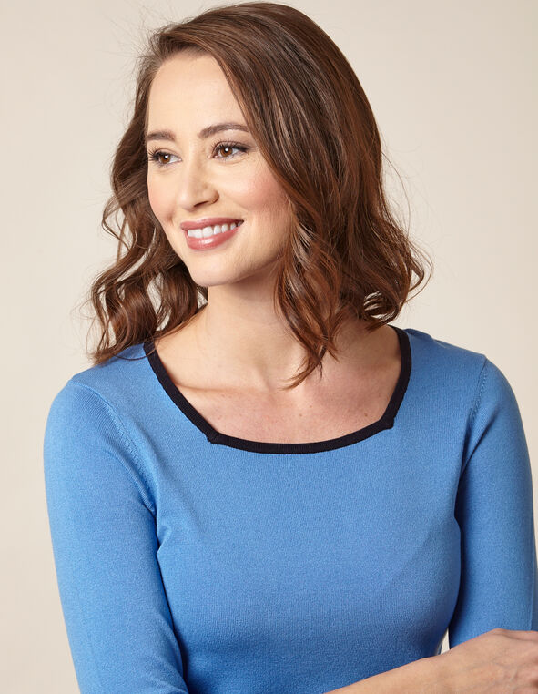 Light Blue Square Neck Sweater, Blue/Light Blue, hi-res