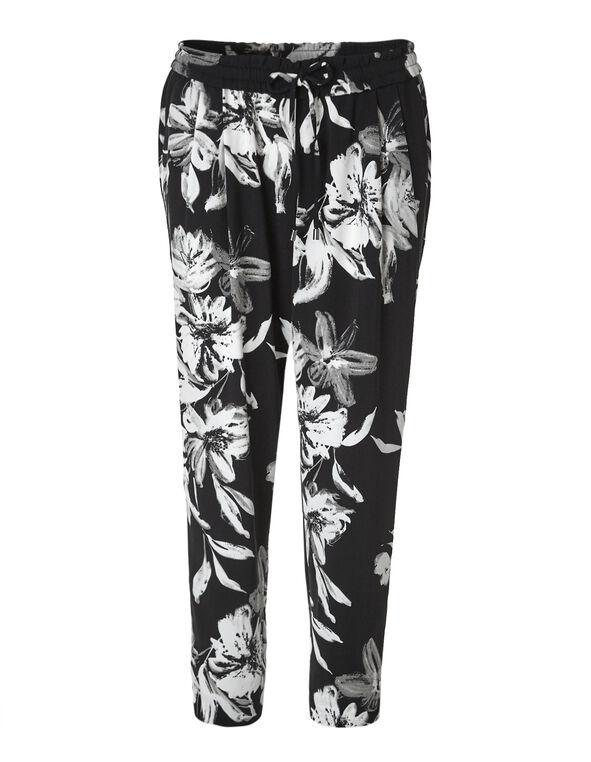 Floral Soft Ankle Pant, Black, hi-res