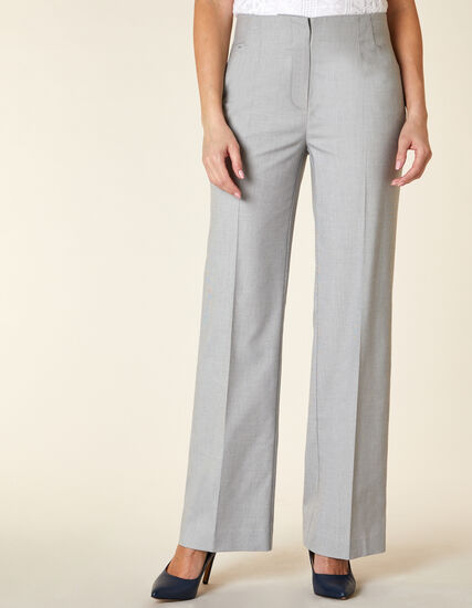 Light Grey Textured Trouser Pant, Grey, hi-res