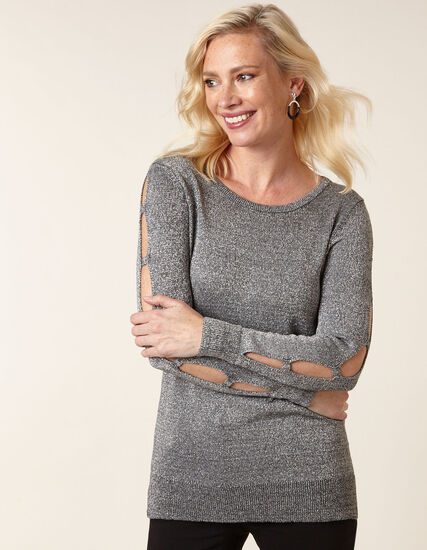 Grey Metallic Ladder Sleeve Sweater, Grey, hi-res