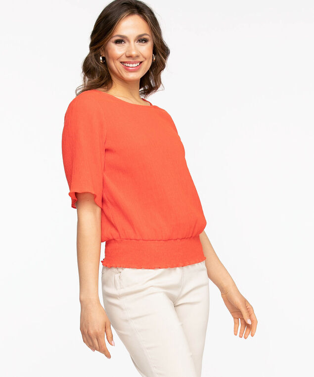 Shirred Short Sleeve Blouse, Coral
