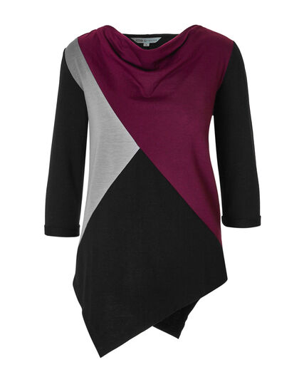 Sangria French Terry Colour Block Top, Sangria/Black/Grey, hi-res