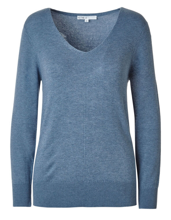 Blue Pullover Sweater, Blue, hi-res