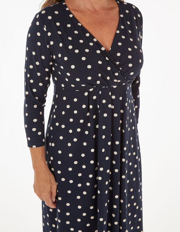 Navy Polka Dotted Fit & Flare Dress, Navy, hi-res