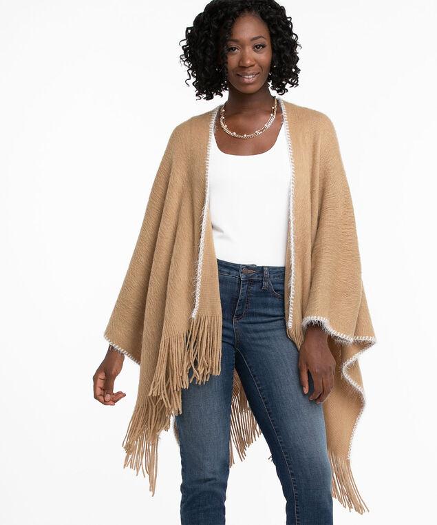 Super Soft Blanket Stitch Wrap, Neutral
