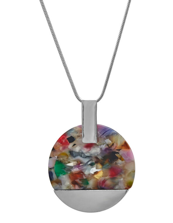 Multi-Colour Resin Statement Necklace, Silver, hi-res