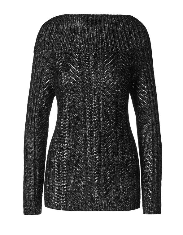 Black Marilyn Tie Back Sweater, Black, hi-res