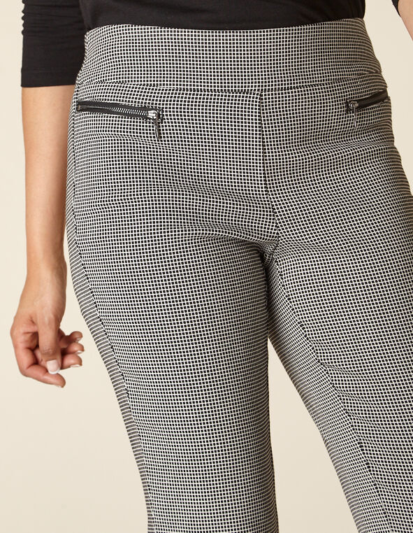 Black Grid Zip Pull On Slim Pant, Black