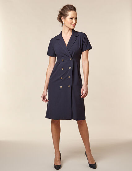 Navy Collared Trench Dress, Navy, hi-res