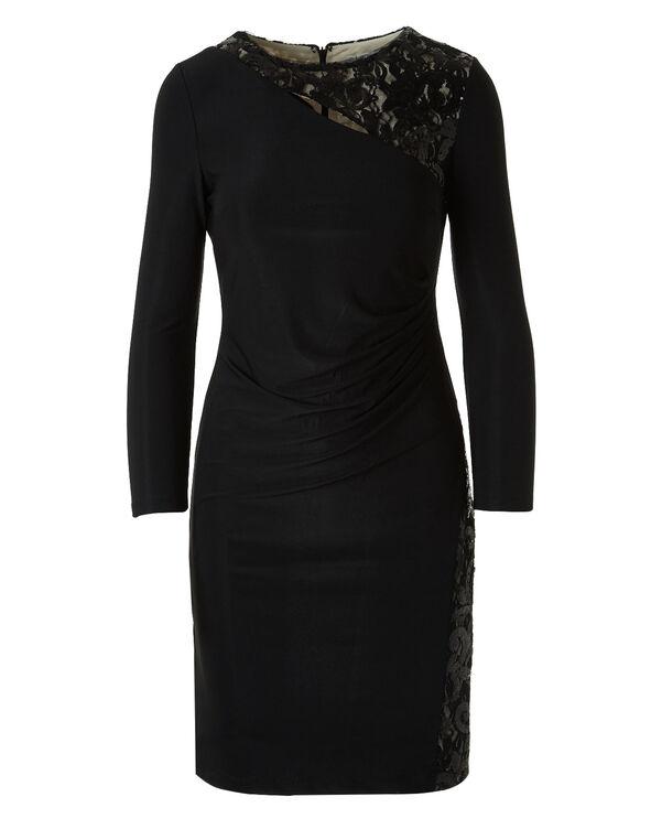 Black Shimmer Mesh Insert Dress, Black, hi-res