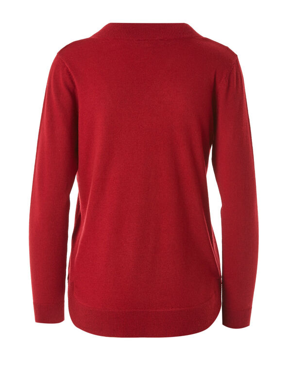 Red Recycled Fabric Pullover, Red, hi-res
