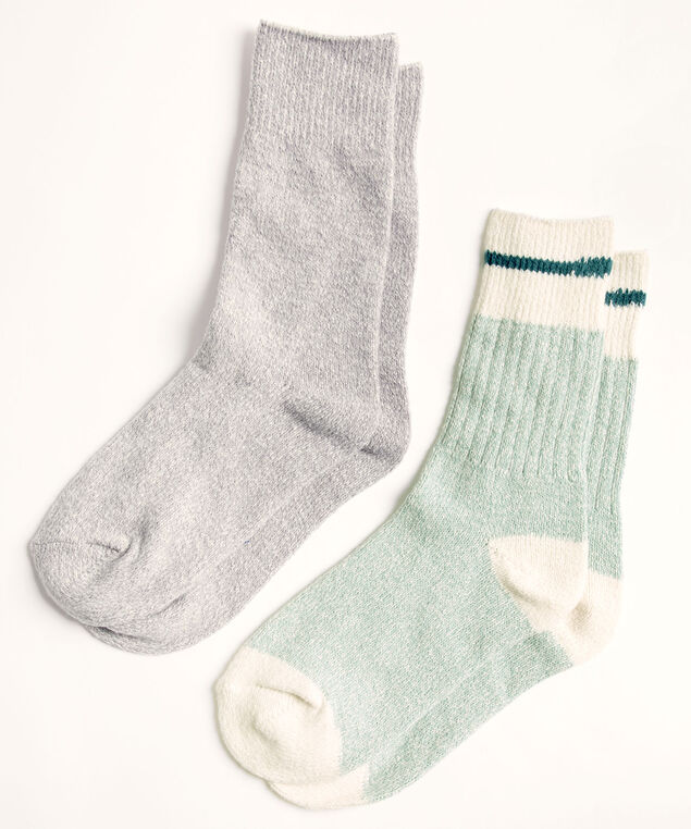 Cozy Work Sock 2-Pack, Teal/Ivory/Light Grey