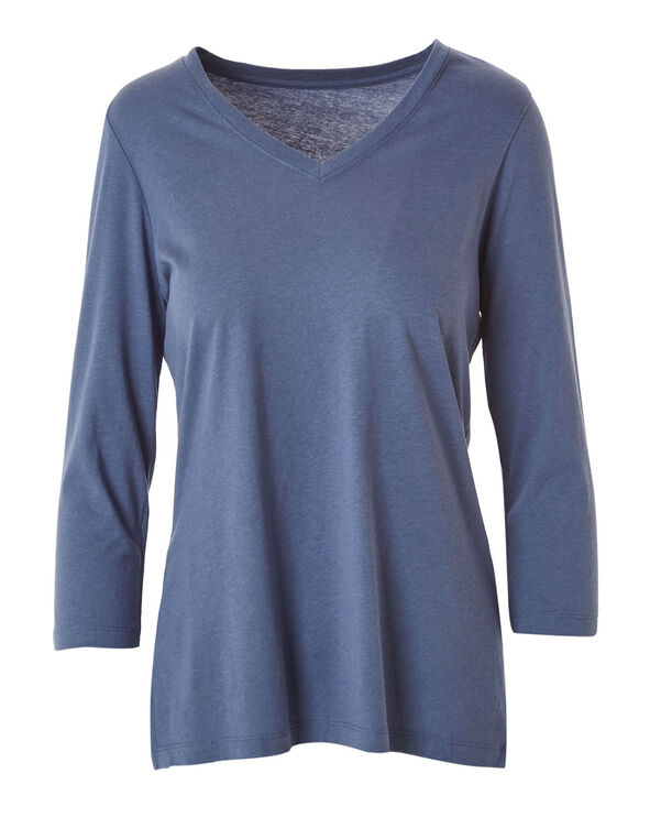 Blue V-Neck Essential Tee, Blue, hi-res