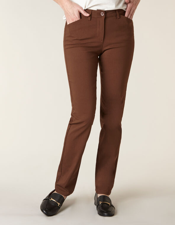 Cognac Butt Lift Slim Pant, Brown, hi-res