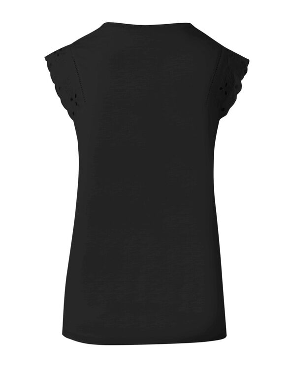 Black Eyelet Cap Sleeve Cotton Tee, Black, hi-res