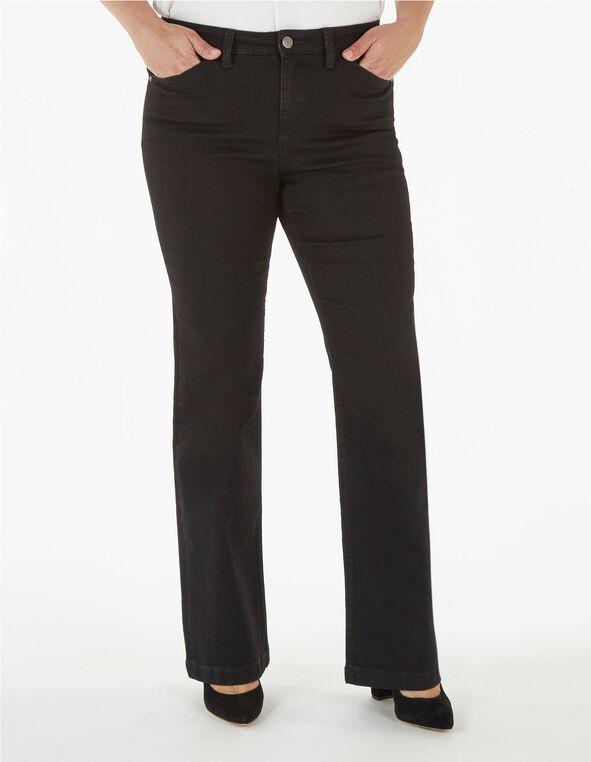 Short Black Bootcut Jean, Black, hi-res