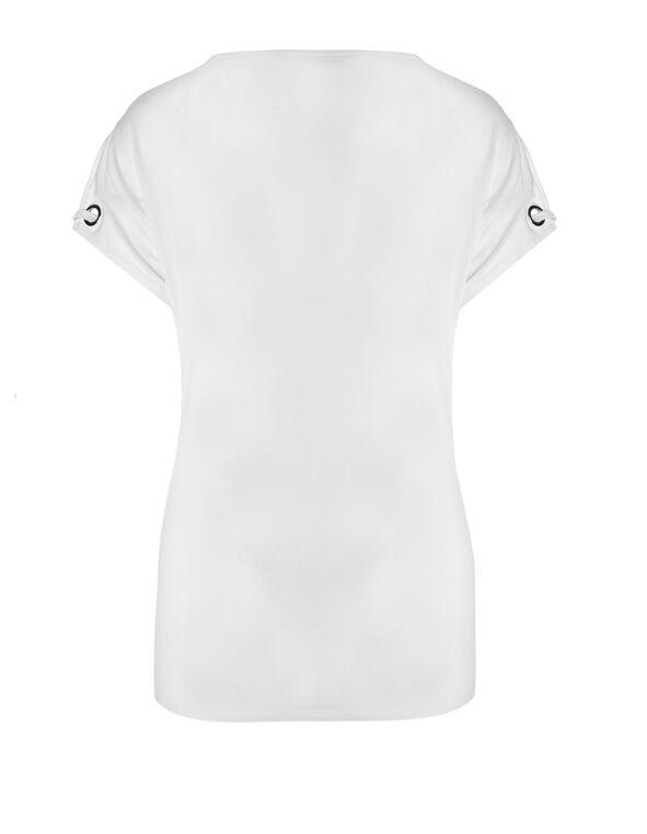 White Tie Hem Top, White, hi-res