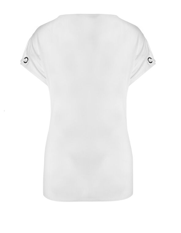 White Tie Hem Top, White, hi-res