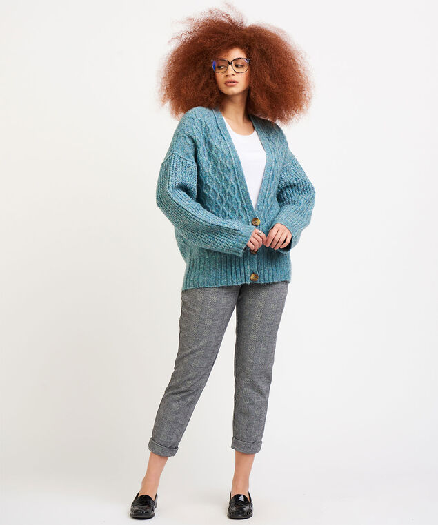 Dex Button Front Cable Knit Cardigan, Light Teal