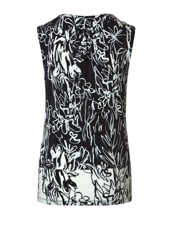 Black & Ivory Floral Sketch Top, Black, hi-res