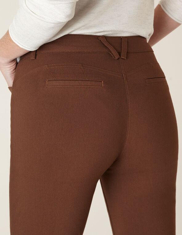 Cognac Butt Lift Slim Pant, Brown, hi-res