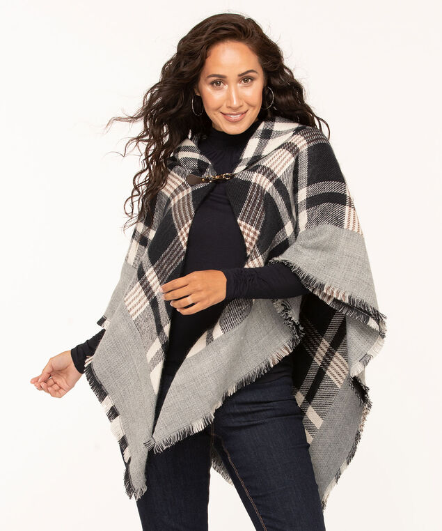 Grey Plaid Toggle Wrap, Grey/Black/White/Brown, hi-res