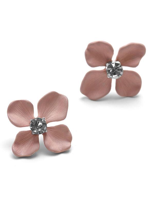 Pink Painted Flower Earring, Pink, hi-res