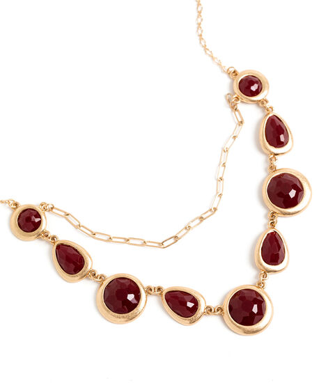 Oxblood Stone Necklace, Gold/Oxblood, hi-res