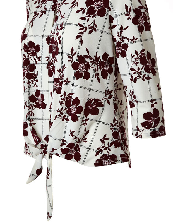 White Floral Print Tie Top, White, hi-res