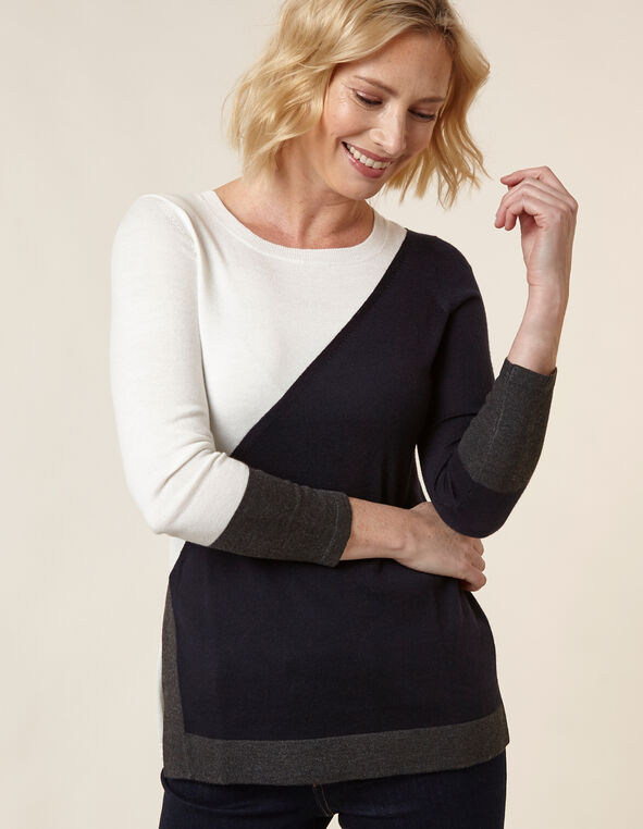 Navy Colour Block Tunic Sweater, Navy, hi-res