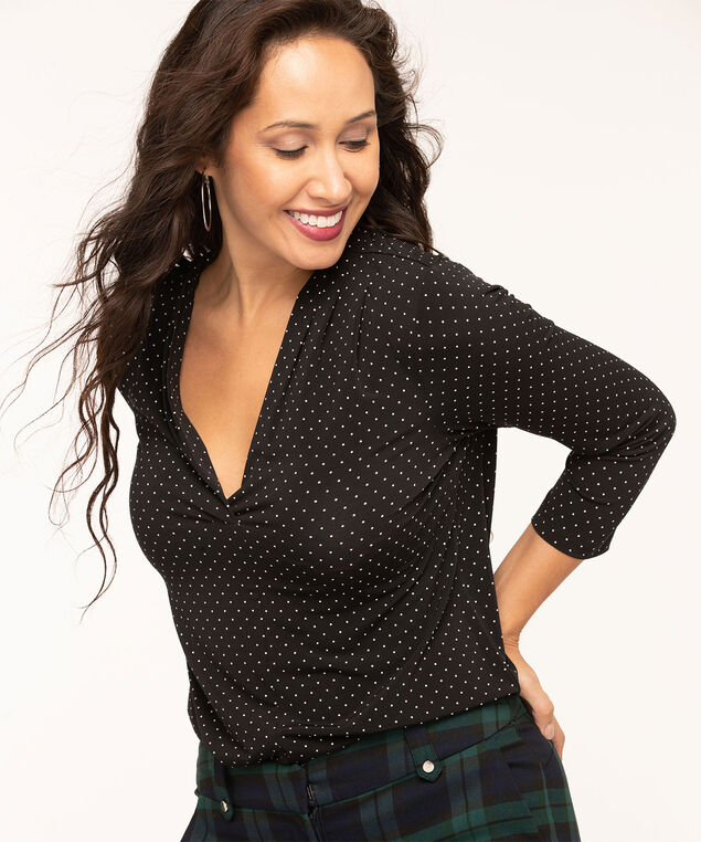 Black Polka Dot V-Neck Top, Black/Ivory Dot, hi-res