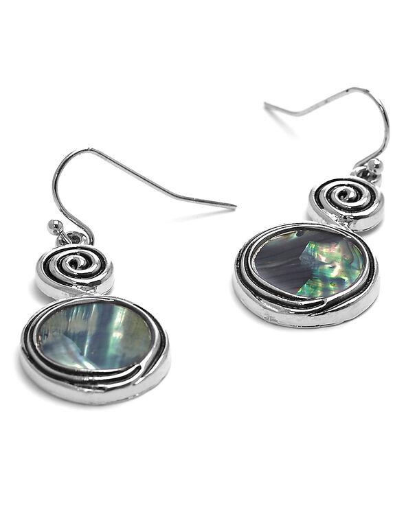 Artisanal Abalone Earring, Silver, hi-res