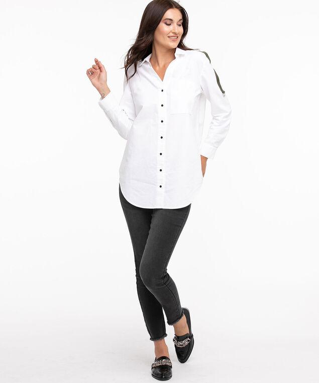 Oversized Cotton Tunic Blouse, White/Olive