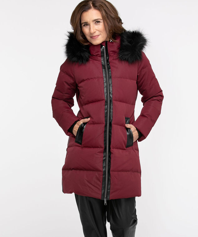 Faux Fur Glacier Down Coat, Oxblood