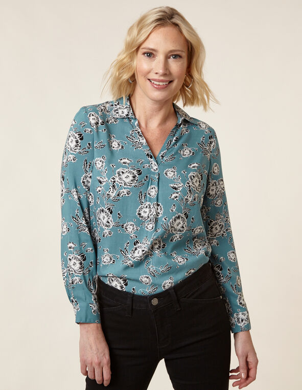 Light Teal Floral Printed Blouse, Teal, hi-res