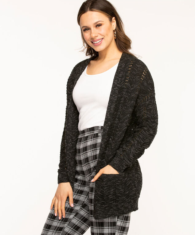 Pointelle Stitch Long Open Cardigan, Black