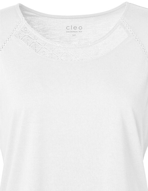 Ivory Lace Detail Cap Sleeve Tee, Ivory, hi-res
